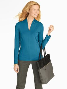 Talbots - Platinum Jersey Stand V-Neck | Tees and Knits |