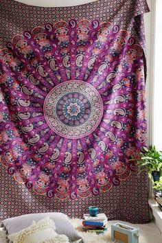 The Aliannah Pink Purple Blue Mandala Hippie Boho Bohemian Queen Tapestry