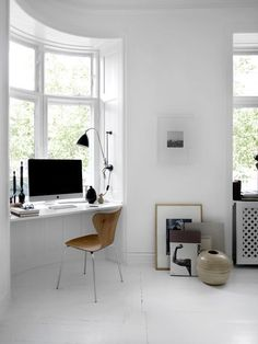 Modern Home Office // all white interior with natural light