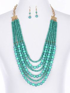 Natural Stone Beaded Layered Set. Beautiful for spring and summer