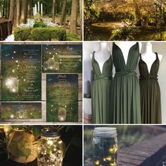 Enchanted Garden Wedding Theme, Rustic Mason Jar Fireflies Summer Wedding Theme Moodboard Inspiration #wedding #weddinginspiration #weddinginvitations