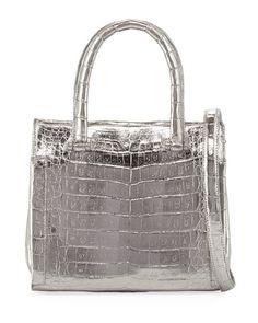 NANCY GONZALEZ Small Metallic Double-Handle Tote Bag, Gray. #nancygonzalez #bags #tote #lining #metallic #shoulder bags #suede #hand bags #
