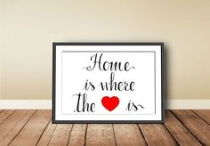 Home is where the heart is, Digital download, instant download, printable art, Typographic Art Print, calligraphy print, love, wedding gift - pinned by pin4etsy.com