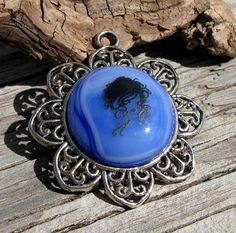 Silver Flower with Fused Blue Glass by EmotionalOasis on Etsy, $14.00