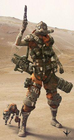 "Cyberpunk - aliapulchraes: "" Drongo by Zak Foreman "" Arte Cyberpunk, Armor Concept, Concept Art, Art Apocalypse, Apocalypse Character, Art Fallout, Post Apocalyptic Art, Apocalyptic Fashion, Arte Ninja"