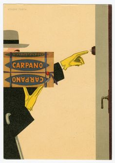 Postcard: Carpano Vermouth, circa 1930, published in Italy by Studio Testa