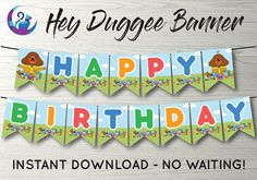 Hey Duggee Banner ** perfect party decoration for your Hey Duggee celebration! ** features the phrase Happy Birthday! as well as 6 character flags >> Please note that this is a DIGITAL item that you need to print yourself. What you receive are digital files which you can then use to 2nd Birthday Parties, Baby Birthday, Birthday Ideas, Birthday Cake, Bunting Banner, Happy Birthday Banners, Perfect Party, Party Planning, Birthdays