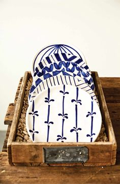 Creative Co-Op Blue & White Plate