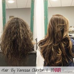 Here you can see Vanessa's clients hair transformed from frizzy to fabulous with a Kerasilk Treatment. The Kerasilk Keratin Treatment Service provides long-lasting transformation into perfectly smooth and soft hair for up to 5 months. For anyone who regularly struggles with blow-drying, over-uses their straighteners and overloads their hair with product in an effort to banish frizzy hair, this is the treatment for you!