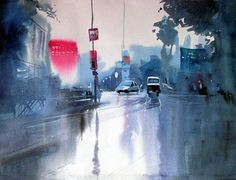 Rainy Day - Painting of a rainy day in a city showing cars and a shining road, done in watercolors, Milind Mulick Watercolor Canvas, Watercolor Landscape, Watercolour Painting, Watercolors, City Art, Indian Artwork, Beautiful Artwork, Urban Art, Art Google