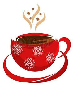 cafe dibujo: Navidad taza de café en color rojo Vectores