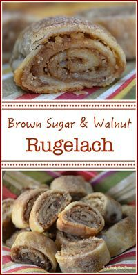 Brown Sugar and Walnut Rugelach.and The Secret Life of Bees Brown Sugar and Walnut Rugelach: You won't believe how easy these are to make! Holiday Baking, Christmas Baking, Christmas Parties, Italian Christmas Cookies, Köstliche Desserts, Dessert Recipes, Jewish Desserts, Hungarian Desserts, German Desserts