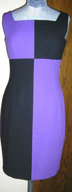 80s color block dress purple and black by by ChloeandNatalieVtg, $44.00