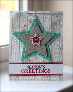 love the casual feel of this card with the woodgrain background, embossed with the Lucky Star textured impressions embossing folder.