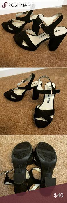 c7ed2c2fd0f9 Anne Klein Lalima Black Suede Heel Size 7