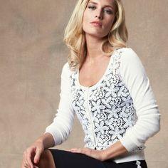 Кружевной кардиган с длинными рукавами VOTRE MODE. Размеры с 34/ - Пуловеры, жилеты - Votre Mode - Женская одежда - 3 Suisses