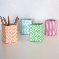 I've just found Recycled Pastel Geometric Pen Pot. A practical pen or pencil pot available in four lovely geometric designs.. £4.95