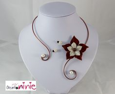 "Collier ""Agathe"" mariage ivoire et marron chocolat - personnalisable : Collier par creation-ninie"