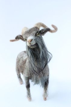 Needle Felted Billy Goat Felted Goat Goat por YvonnesWorkshop