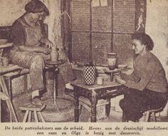 Again 1955, Dutch potters Henny Radijs and Olga Oderkerk at work. Trouw, november 16th, 1955...