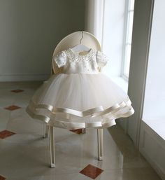 Shop High-end Beaded Ivory Puffy Flower Girl Dress Pageant Gown With Sleeves online. Super cute styles with couture high quality. Girls Party Dress, Little Girl Dresses, Baby Dress, Flower Girl Dresses, Flower Girls, Ruffle Dress, Baptism Dress, Christening Gowns, Girls Dresses Online