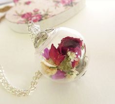 Real Rose Necklace Pink Rose Real Flower by SeaMeadowDesigns