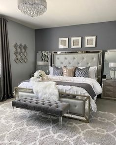 Glam Master Bedroom, Grey Bedroom Decor, Decor Home Living Room, Room Design Bedroom, Room Ideas Bedroom, Home Bedroom, Silver And Grey Bedroom, Glamour Bedroom, King Bedroom Sets