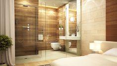 Houtlook tegels badkamer met warme tinten