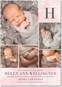Wintry Monogram: Soft Pink - Winter Girl Birth Announcements in Soft Pink | Hello Little One
