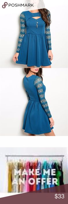 """Teal long sleeve lace dress with cutouts SEXY!! Fabric Content: 95% POLYESTER 5% SPANDEX Description: L: 33"""" B: 15"""" W: 13"""" Measurements for garment laying flat- L: 33"""" B: 15"""" W: 13"""" ----Measuring Table---BUST-WAIST-HIPS---(inches) Small:33-34/25-26/35-36 Medium:36-37/27-28/37-38 Large:39-40/29-30/39-40 Dresses Mini"""