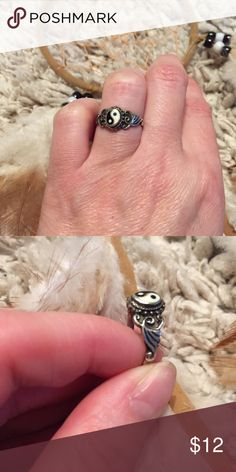 Vintage Yin Yang ring Vintage yin yang ring. Silver color with black & white yin and yang symbol. This is lovely, and a total steal for the listed price. Vintage Jewelry Rings