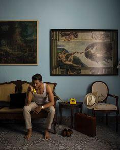 """The Havana Gangster"" Dark Haired Men, Black Pinstripe Suit, Navy Espadrilles, Adam Gallagher, Its A Mans World, Hipster Man, Photography Poses For Men, Burberry Men, Gucci Men"