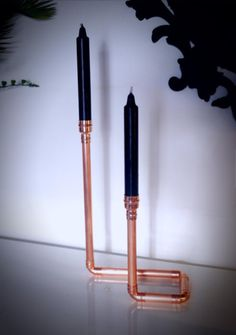 Copper pipe candle stick