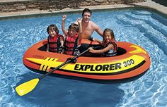 Intex Explorer Boat Set ~ Includes 2 Oars and Air Pump (300 Boat)