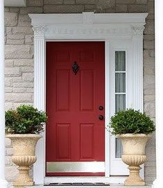 The best red paint for your home. Front Door Entrance, House Front Door, Front Door Colors, Entry Doors, Front Entrances, Front Porch, Painted Exterior Doors, Painted Front Doors, Interior Barn Doors