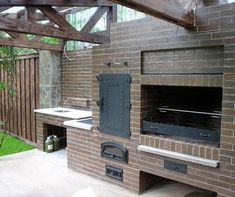 backyard designs – Gardening Ideas, Tips & Techniques Backyard Kitchen, Outdoor Kitchen Design, Backyard Farming, Backyard Patio, Bbq Firebox, Parrilla Exterior, Barbecue Garden, Smokehouse Bbq, Foyers