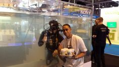Thumbs up! Sorbet Ent's Chris having a snap with the Sony Xperia diver! What a cool way to advertise a waterproof phone! #creative #innovation #mobile #Sony #Xperia #GadgetShowLive #GadgetShow #Technology #Gadgets #Audio #Equipment #FutureTech #NEC