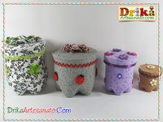 Artesanato Com Garrafa Pet: Faça lindos potes decorados!