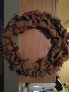 My burlap wreath I made from a coffee sack!