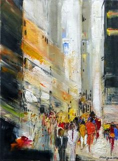 """Philippin, Inge, """"People at a Stroll 3"""" (44) With a click on """"Send as art card"""", you can send this art work to your friends - for free!"""