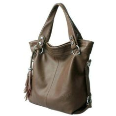 K-BAG [Genuine Leather + Microfiber] Restore Ancient Inclined Big Bag Wonme Tassel Fine Handbag (Khaki)