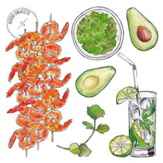 Good objects -This would be a great dinner… Shrimp & guacamole  #goodobjects #illustration #foodillustration #watercolor #food