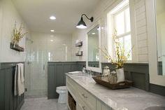 Bath Room Farmhouse Master Decor Fixer Upper Ideas For 2019 Bathroom Tile Designs, Bathroom Renos, Bathroom Layout, Bathroom Ideas, Bathroom Organization, Shower Ideas, Upstairs Bathrooms, Grey Bathrooms, Master Bathroom
