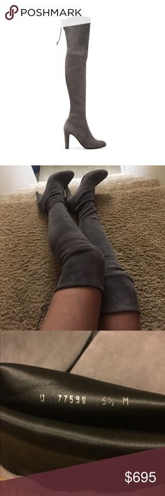 Stuart Weitzman Highland Boots Bought from another Posher, selling because some things have come up (🤰🏽)  received these just a few days ago, so never wore. Previous owner only wore them once :) Bought for $640 over 🅿️🅿️ I have teeeny wiggle room to negotiate, but will be invoiced with tracking and signature confirmation over 🅿️🅿️ Stuart Weitzman Shoes Over the Knee Boots
