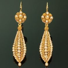 Long pendant antique earrings with filigree work and seed pearls ca 1850