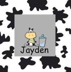 Geboortekaartje met koe. De goedkoopste geboortekaartjes online ontwerpen en bestellen via http://www.geboortepost.nl/geboortekaartjes/cartoons/cow-with-spots-black.html