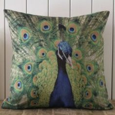 French Chic Blue Green Peacock Paris Cushion Cover
