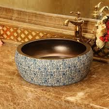 China Ceramic Painting Art Bathroom Vessel Sinks Round counter top wash sink ceramic hand painted