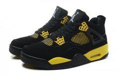 Men Air Jordan 4 Retro Black Yellow Shoes