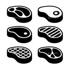 Steak Icons Set. Vector